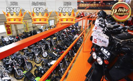 買取台数5500台 処分引取650台 販売2000台 BikePassion